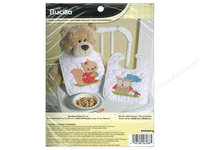 Bucilla Stamped Cross Stitch Kit Woodland Baby Bibs