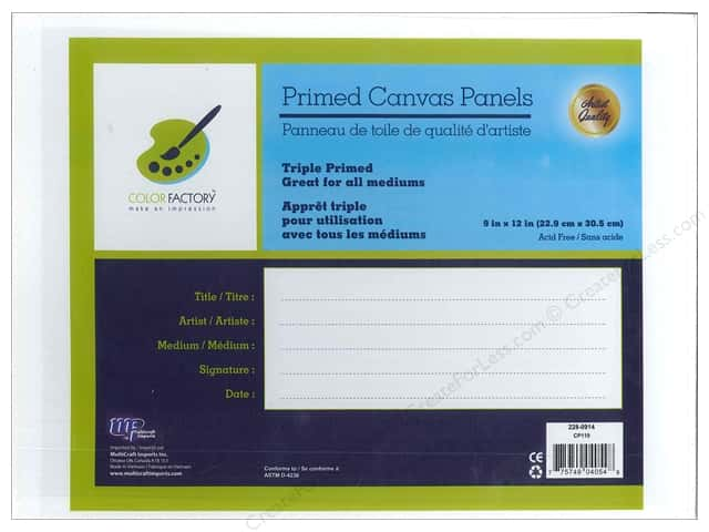 """Multicraft Tools Primed Canvas Panel 9""""x 12"""""""