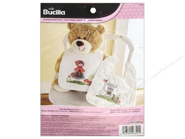 Bucilla Stamped Cross Stitch Kit 9 x 14 in. Little Red Riding Hood Bibs