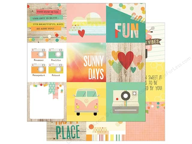 Simple Stories 12 x 12 in. Paper Summer Vibe 4 x 4 in. Element (25 sheets)