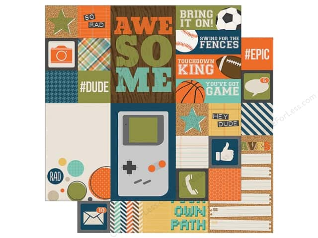 "Simple Stories Collection So Rad Paper 12"" x12"" Element 2""x 2""/4""x 4"" Assorted (25 sheets)"