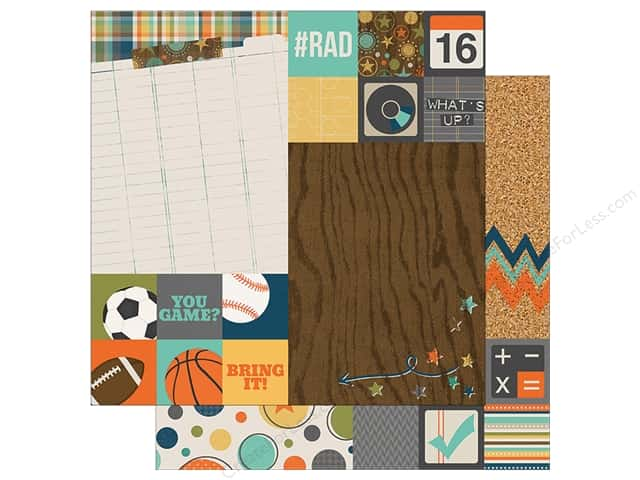 "Simple Stories Collection So Rad Paper 12"" x12"" Element 2""x 2""/6""x 8"" Assorted (25 sheets)"
