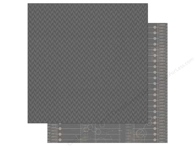 "Simple Stories Collection So Rad Paper 12"" x12"" Grey Herringbone/Code (25 sheets)"