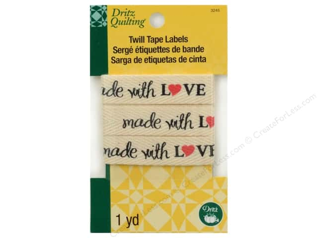 Dritz Twill Tape Labels Made with Love 36 in.
