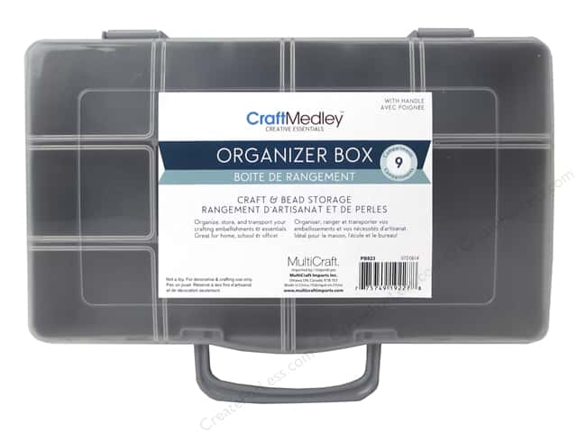 Multicraft Organizer Box with Handle 9 Compartment