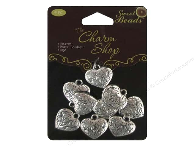 Sweet Beads Charms Metal Heart 9 pc. Silver