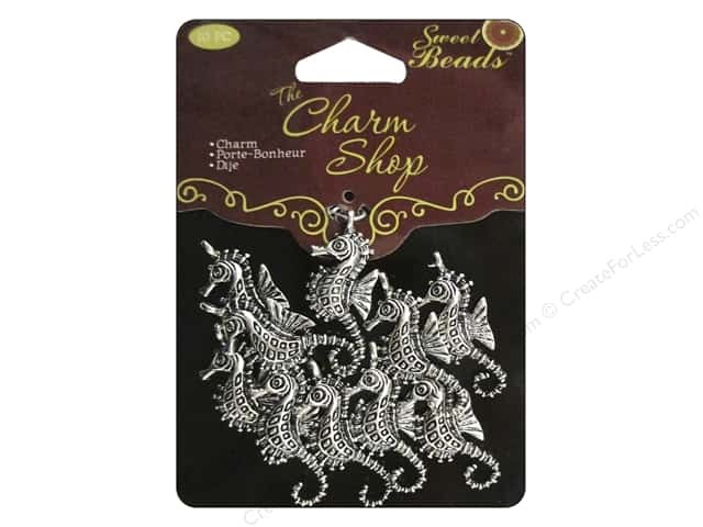 Sweet Beads Charms Metal Seahorse 10 pc. Silver