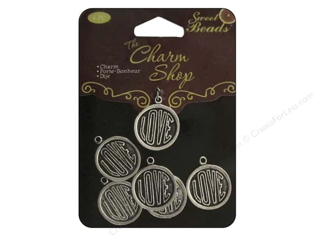 Sweet Beads Charms Metal Love 6 pc. Silver