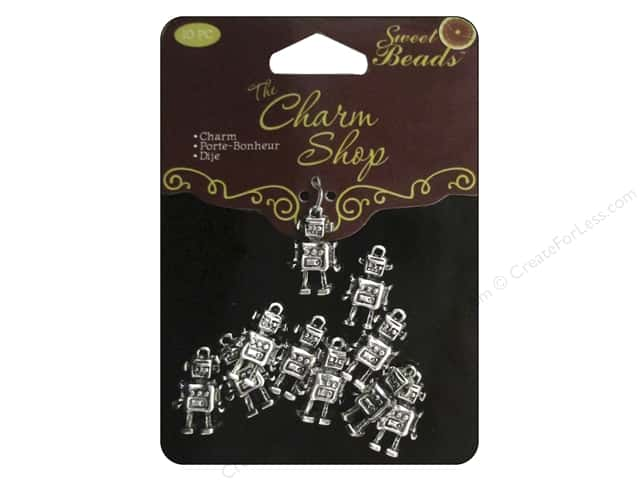 Sweet Beads Charms Metal Robot 10 pc. Silver