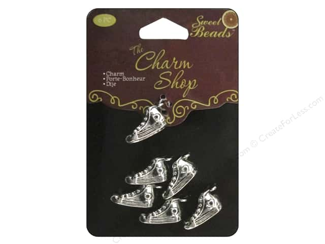 Sweet Beads Charms Metal Sneaker 6 pc. Silver