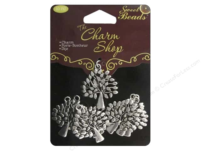Sweet Beads Charms Metal Leafy Tree 10 pc. Silver