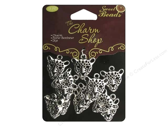 Sweet Beads Charms Metal Leopard 13 pc. Silver