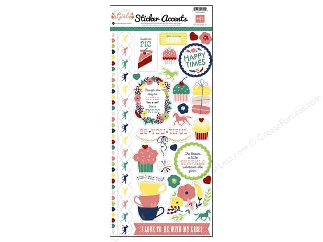 Echo Park Sticker 6 x 12 in. My Little Girl Collection Accent (15 sets)