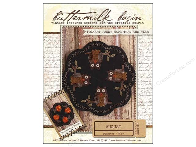 Buttermilk Basin Folkart Penny Mats Thru The Year August Pattern