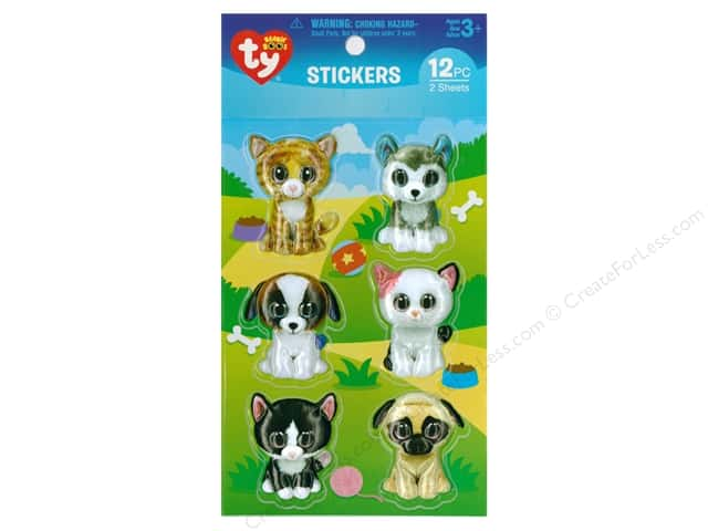 Darice Sticker Beanie Boo Pet 3D 12pc