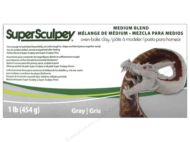 Super Sculpey Clay 1 lb. Medium Blend Gray