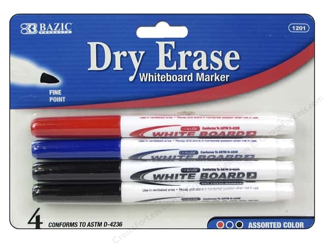 Bazic Basics Dry Erase Markers 4 pc. Fine Tip Assorted