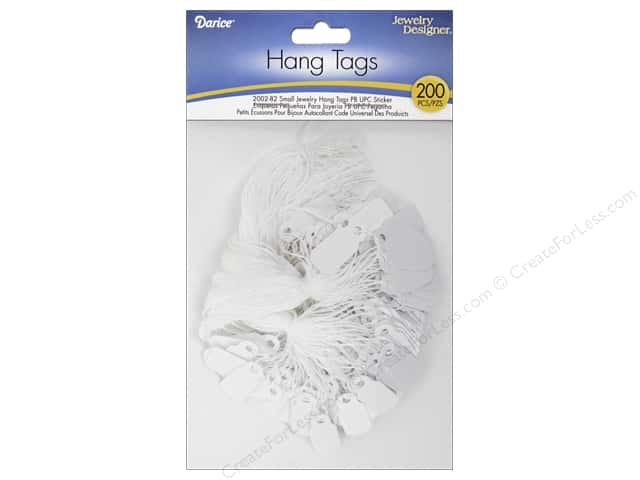 "Darice Jewelry Display Hang Tag 3/8""x 7/8"" White 200pc"