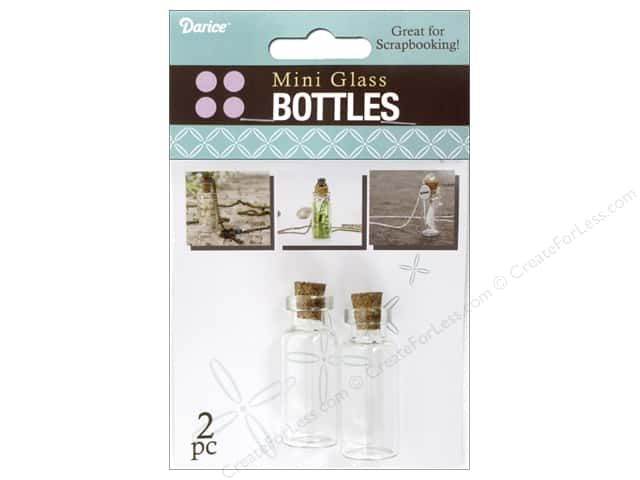 Darice Mini Glass Bottle with Cork Top 1 3/4 in. Clear 2 pc.