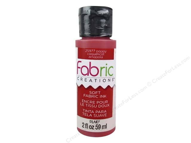 Plaid Fabric Creations Soft Fabric Ink 2 oz. Poppy