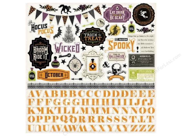 Echo Park Sticker 12 x 12 in. Hocus Pocus Collection Element (15 sets)