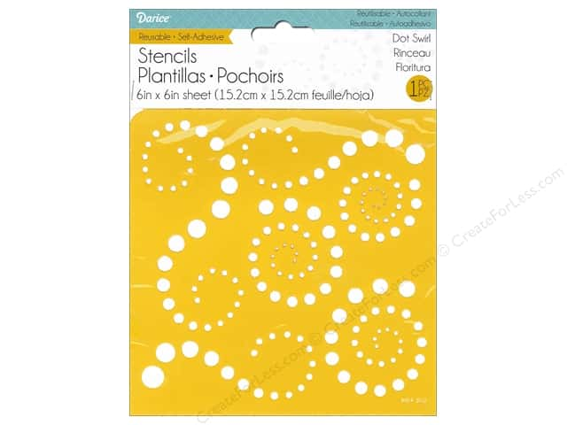 Darice Stencil Self Adhesive 6 x 6 in. Dot Swirl
