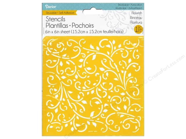 Darice Stencil Self Adhesive 6 x 6 in. Flourish