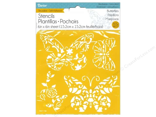 Darice Stencil Self Adhesive 6 x 6 in. Butterflies