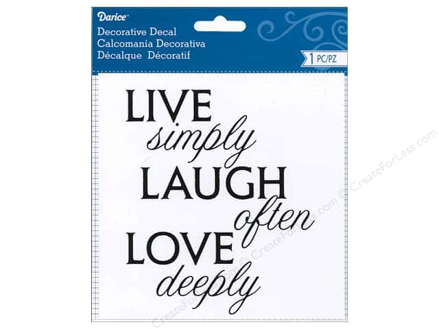 Darice Decorative Decal 4 1/2 x 5 1/2 in. Live Simply Love Laugh