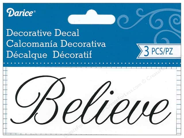 Darice Decorative Decal 1 3/4 x 4 1/2 in. Believe 3 pc.