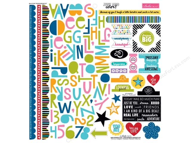 Bella Blvd Stickers Just Add Color Treasures & Text (12 sheets)