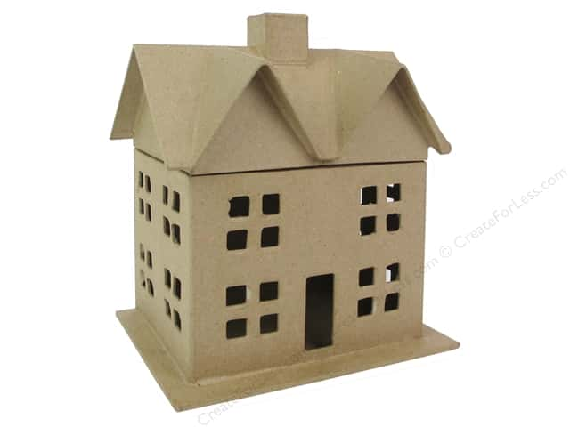 Paper mache box house 9 in by craft pedlars 8 pieces for Craft paper mache boxes