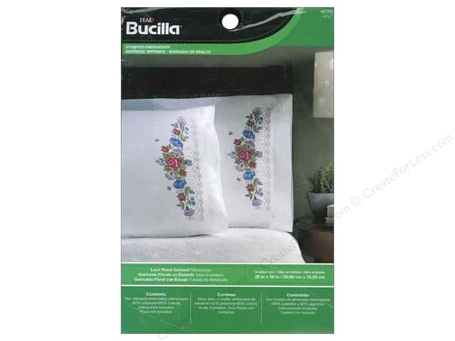 Bucilla Stamped Embroidery Pillowcase Lace Floral Garland