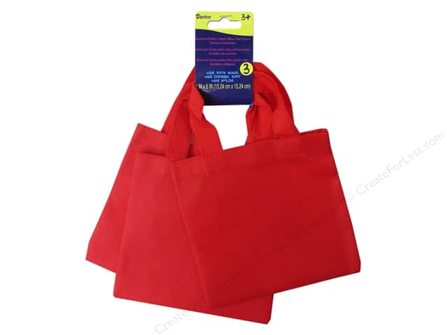 "Darice Tote Bag Mini 6""x 6"" Non Woven Red 3pc"
