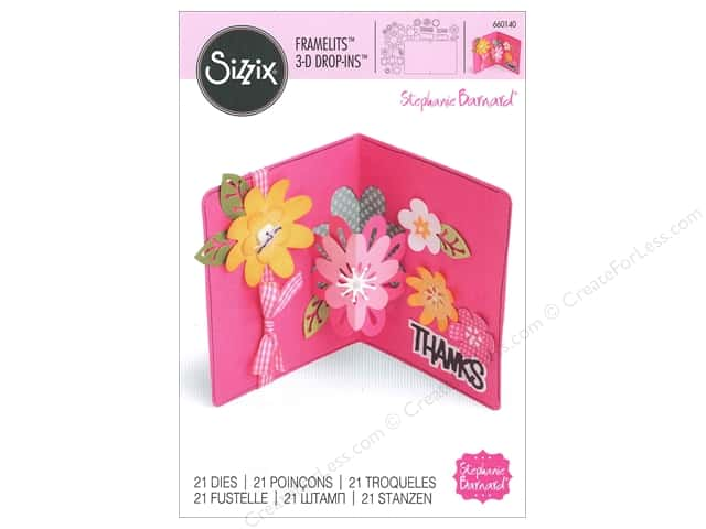 Sizzix Framelits Die Set 21 pc. Card with Flowers 3-D Drop-ins