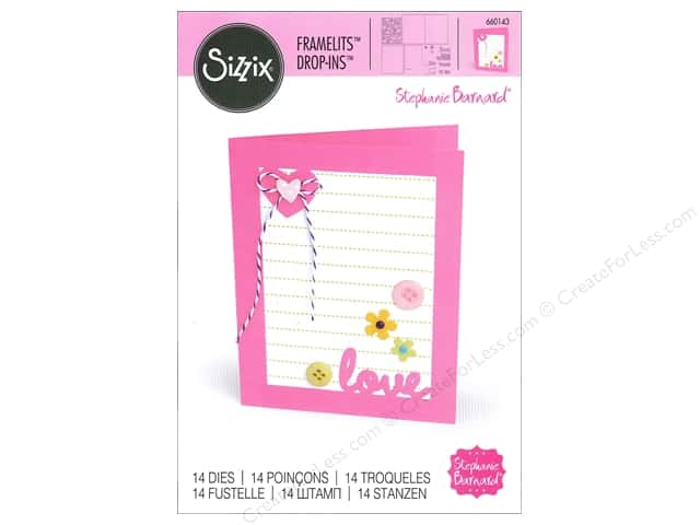 Sizzix Framelits Die Set 14 pc. Card with Lovely Sentiments Drop-ins