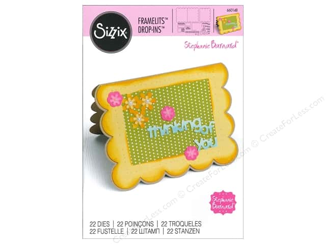 Sizzix Framelits Die Set 22 pc. Scallop Card with Flowers & Sentiments Drop-ins