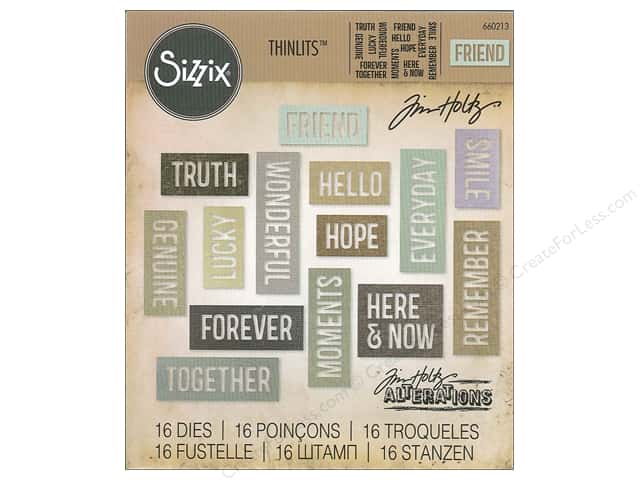 Sizzix Thinlits Die Set 16 pc. Friendship Words: Block