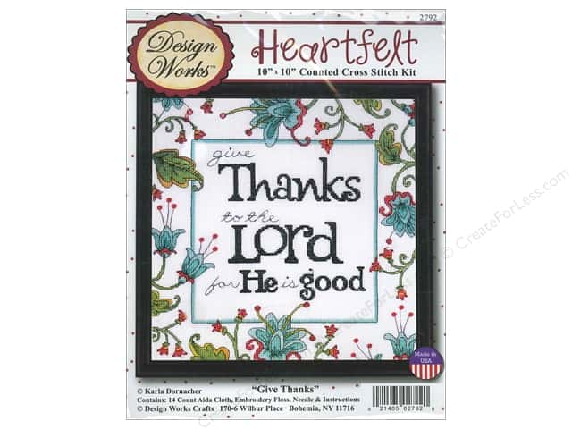 Design Works Cross Stitch Kit 10 x 10 in. Give Thanks
