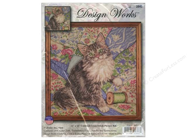 Design Works Cross Stitch Kit 12 x 12 in. Cat On Quilt