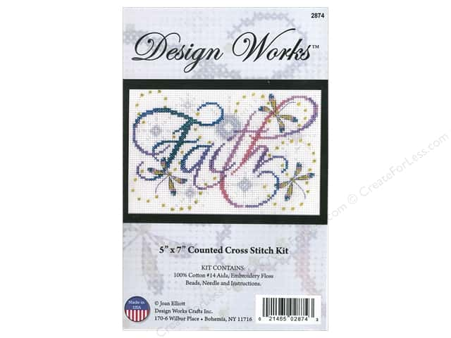 Design Works Cross Stitch Kit 5 x 7 in. Faith