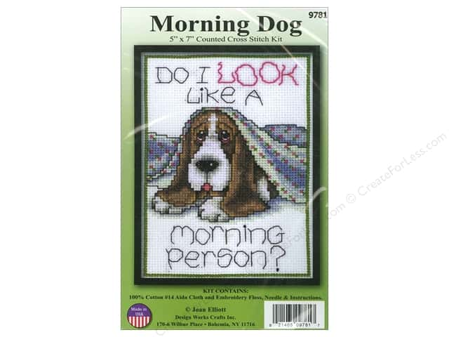 Design Works Cross Stitch Kit 5 x 7 in. Morning Dog