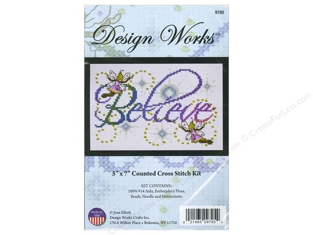 Design Works Cross Stitch Kit 5 x 7 in. Believe