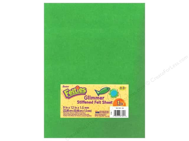 Darice Felties Stiffened Felt Sheet 9 x 12 in. Glimmer Kelly Green (5 sheets)