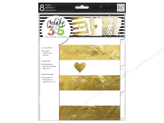 Me&My Big Ideas Create 365 Happy Planner Divider Medium Classic Gold