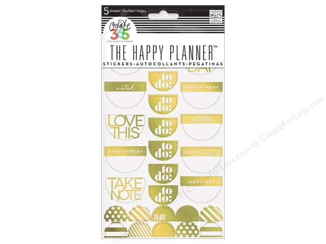 Me&My Big Ideas Collection Create 365 Happy Planner Sticker Take Note Gold Foil