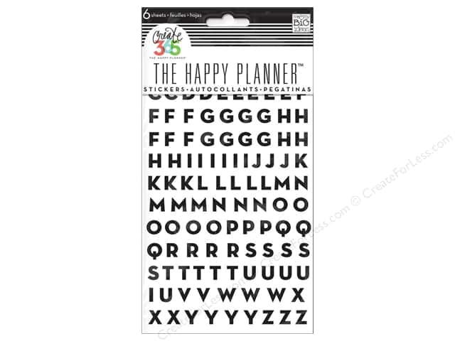 Me&My Big Ideas Create 365 Happy Planner Sticker Alphabet Black