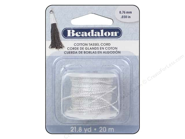 Beadalon Tassel Cord Cotton 2.18 yd. Metallic Silver/White