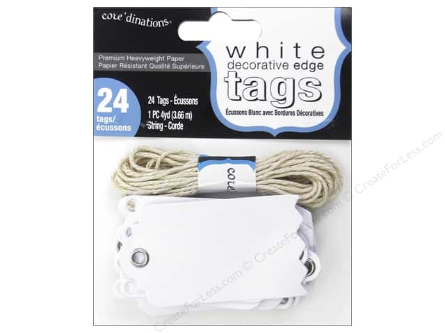 Coredinations Tags White Decorative Edge 24pc