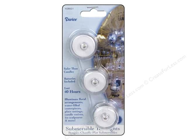 Darice Tea Lights Submersible White 40 Hour 3pc